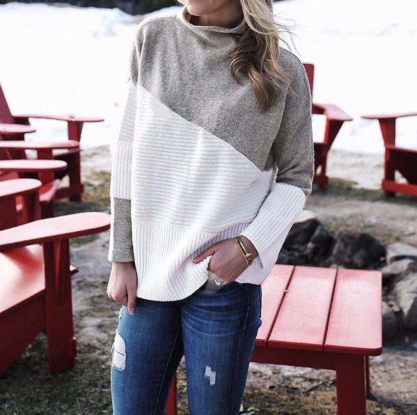 Fashion High-Necked Long-Sleeved Loose Knit Sweater