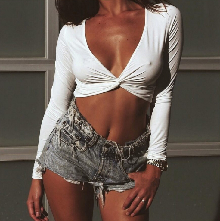 Sexy V-Neck Long-Sleeved Shirt