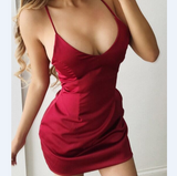 Solid Color Backless Sling Dress