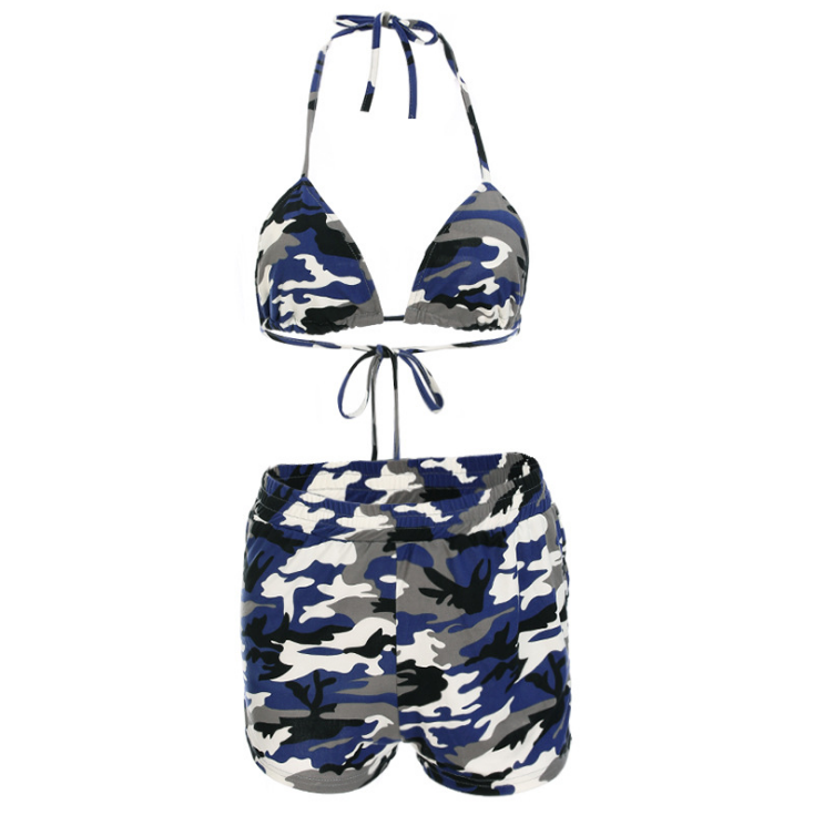 Sexy Camouflage Backless Spaghetti Strap Shorts Set