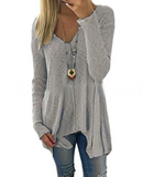 Solid Color Sexy V-Neck Long Sleeve Sweater