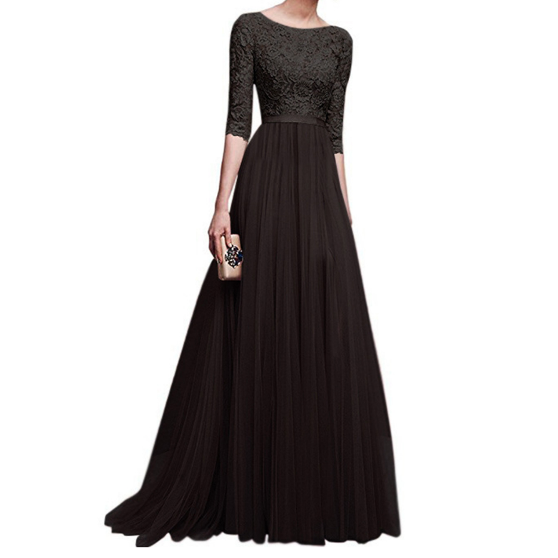 Fashion Half Sleeve Long Lace Dress