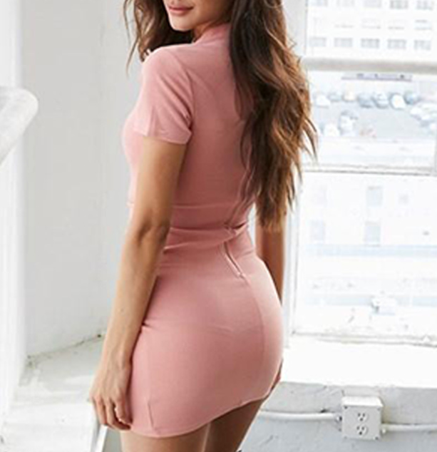 Fashion Sexy Round Neck Bag Hip Dress