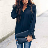 Solid Color V-Neck Long-Sleeved Chiffon Top