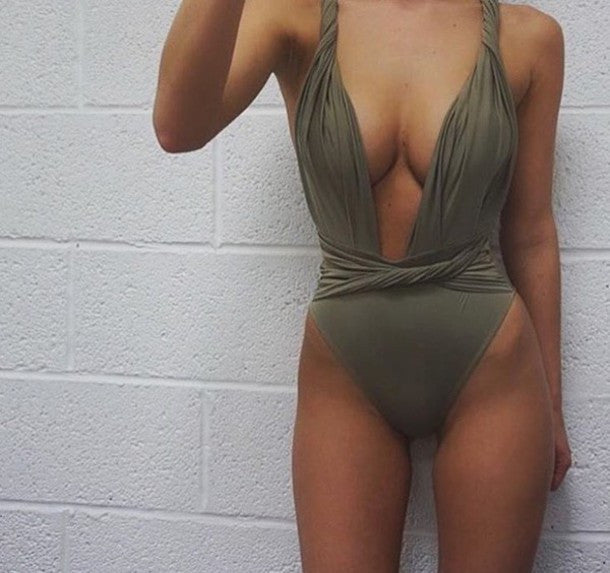 Sexy high waist backless bikini