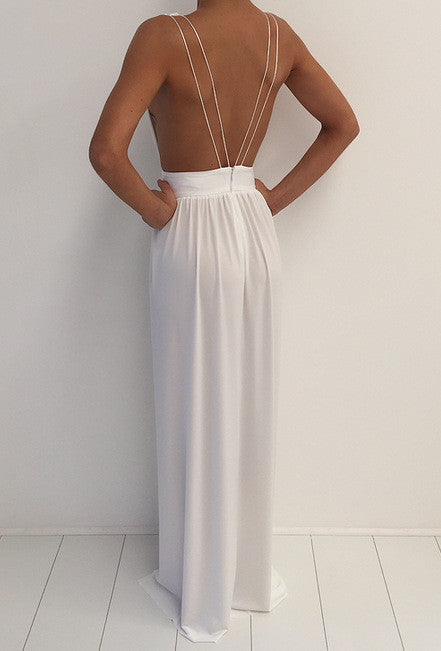 Fashion V-neck backless dress