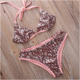 Solid Color Sexy Sequins Bikini Swimwear Suit