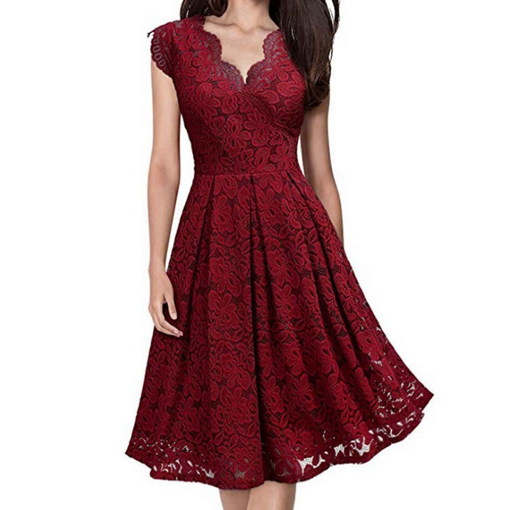 V-Neck Sleeveless Lace Evening Dress