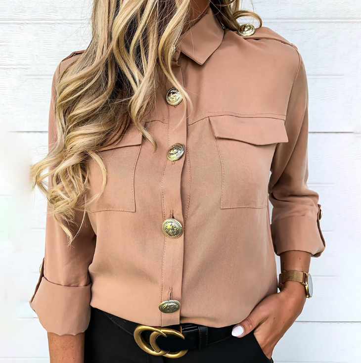 Solid Color Long Sleeve Women'S Shirt