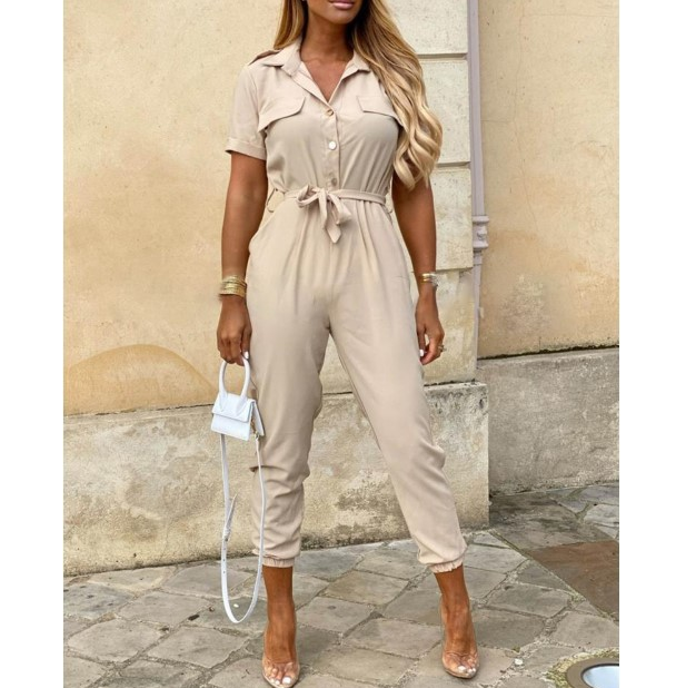 Casual Short Sleeve Printed Jumpsuit