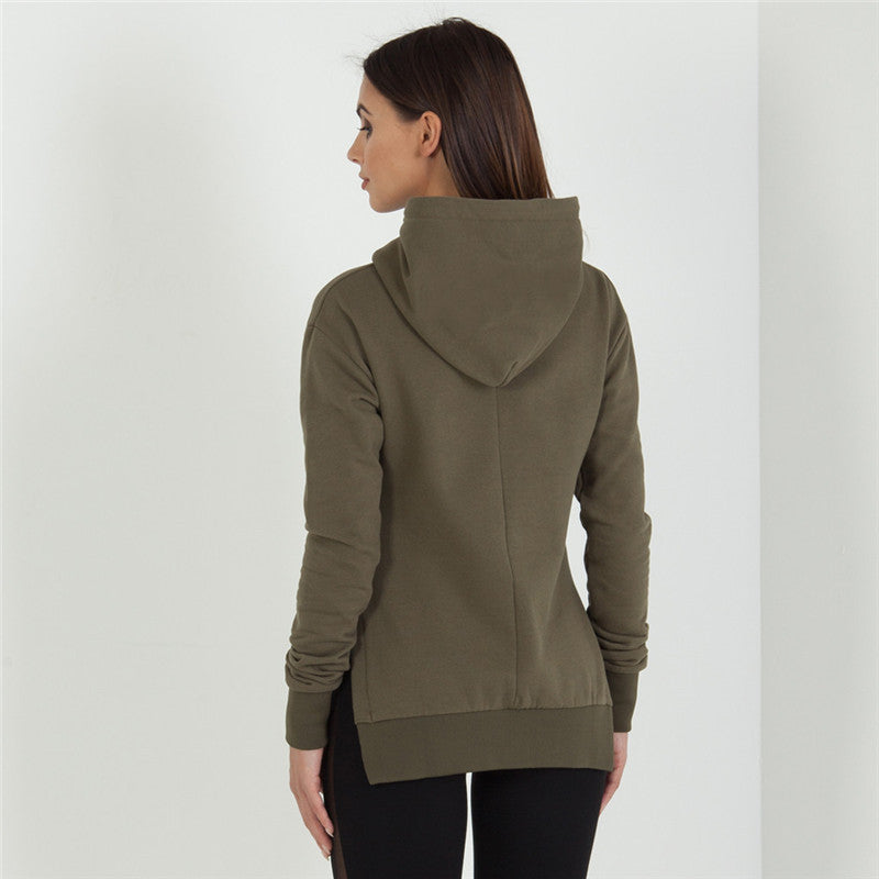 Round neck long-sleeved hooded sweater