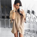 Solid color long-sleeved high-necked dress