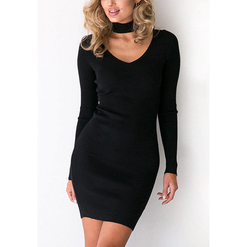 Fashion long-sleeved V-neck package hip dress