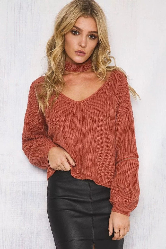 Cozy Knitted Warm Sweater Casual Loose Open Sleeve Zipper Jumper