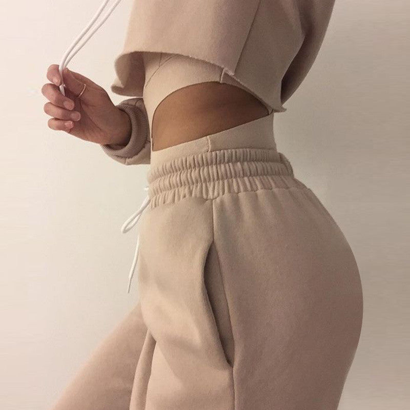 Solid color sexy Hooded two-piece Pants