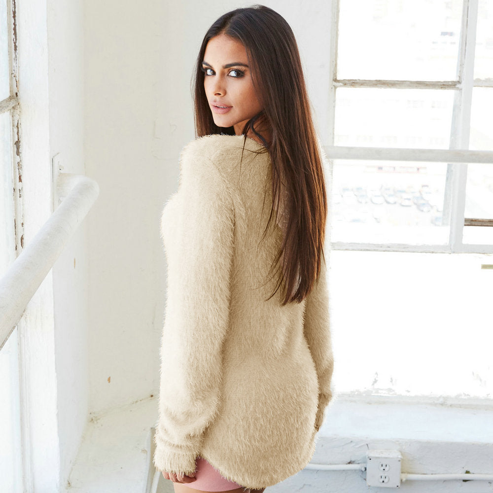Women'S Pure Color Fashion Long-Sleeved Sweater