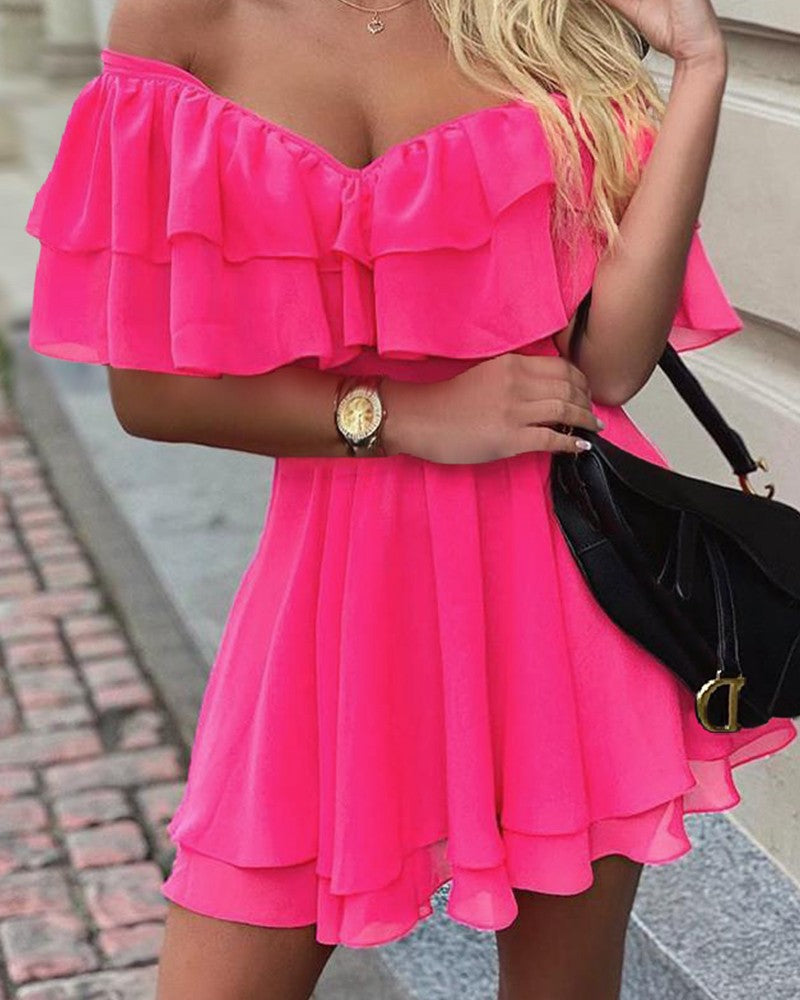 Slim V-Neck Strapless Fashion Dress
