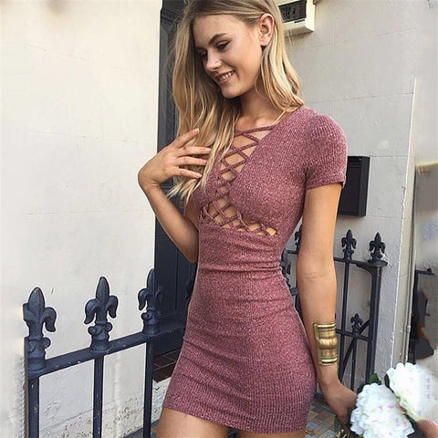 Sexy V-neck short sleeve lace dress