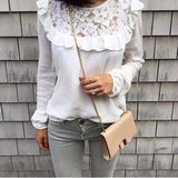 White Long-Sleeved Lace Shirt