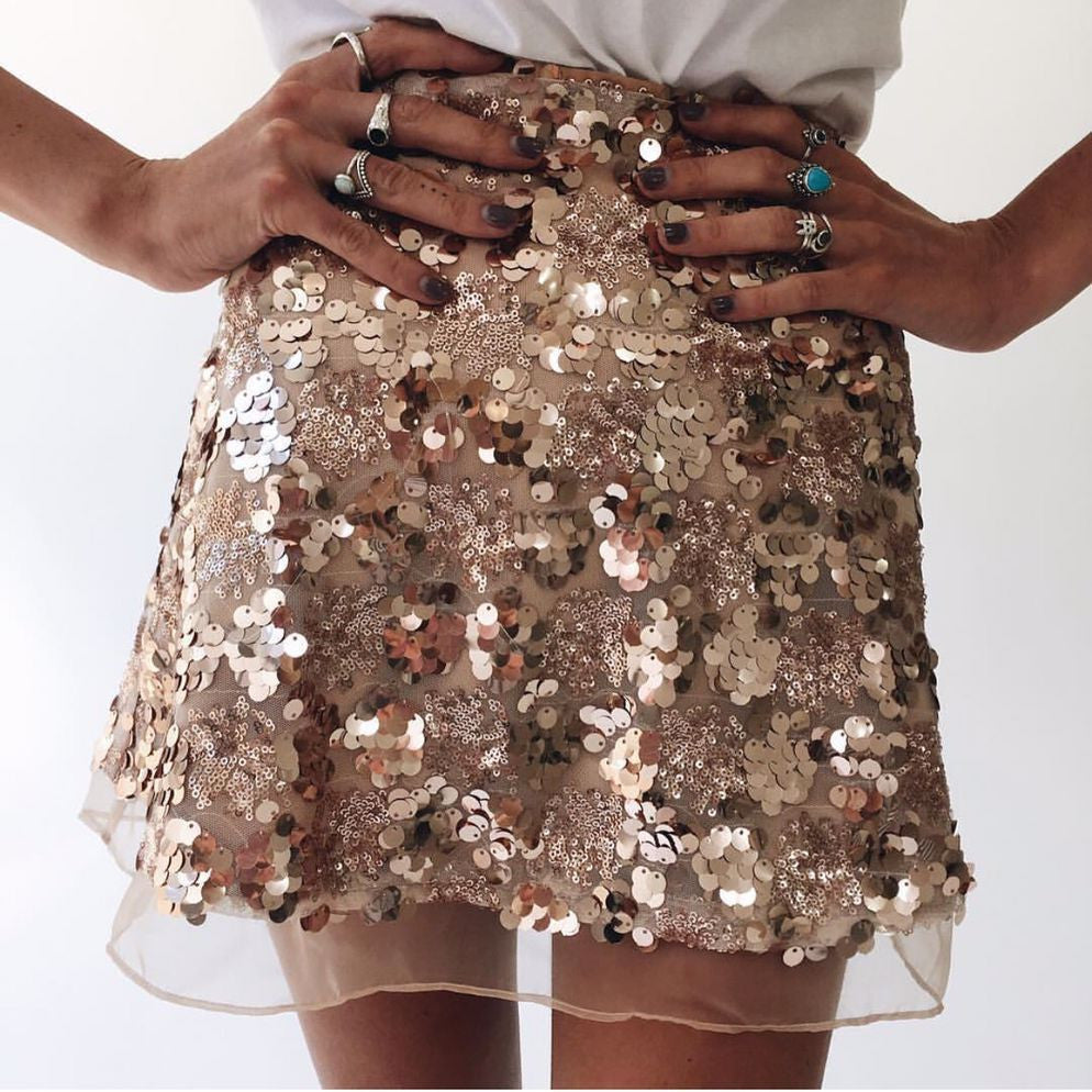 Solid Color Sequined Skirts