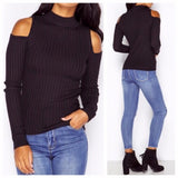 Fashion Long-Sleeved Off-Shoulder Knit Top
