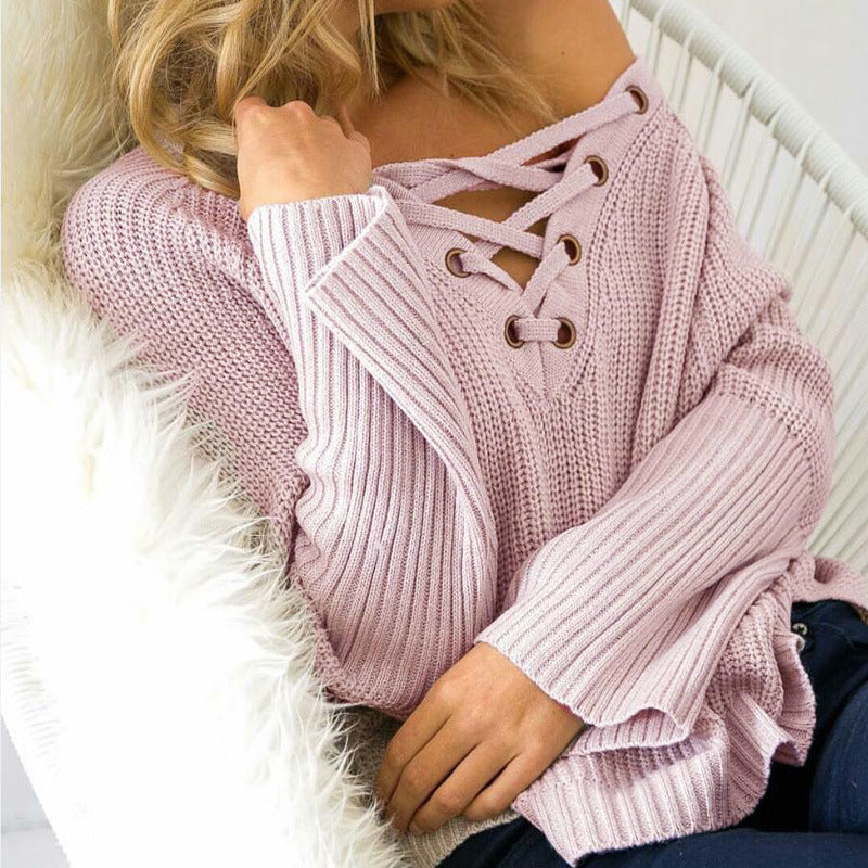 Sweater V-neck Tops Women's Fashion Needles