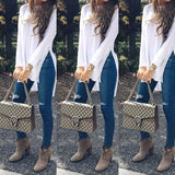 Women White Long T-shirts Spring Autumn Irregular Side Slit Long Sleeves Top