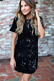 Round Neck Sequins Short Sleeve Dress