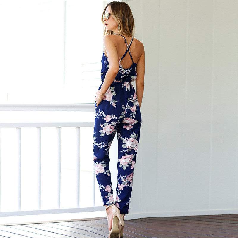 Design Sling Backless Printing Rompers