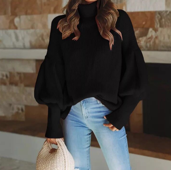 Women'S High-Necked Long-Sleeved Sweater