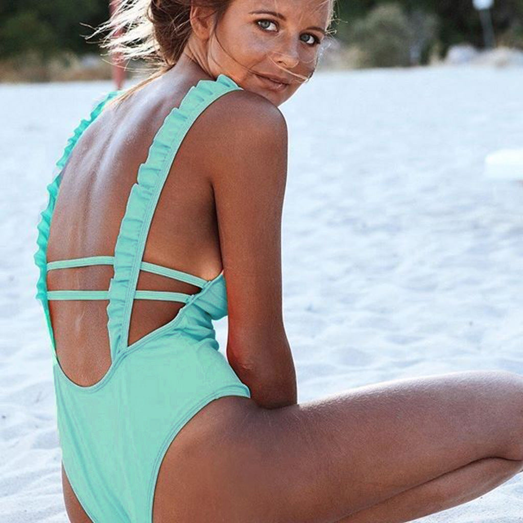 Sexy Low-Cut Solid Color One-Piece Swimsuit