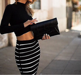 Long-Sleeved Striped Two-Piece Dress