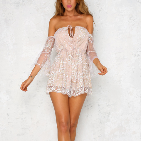 Gauze Sequin Long Sleeve Romper Jumpsuit