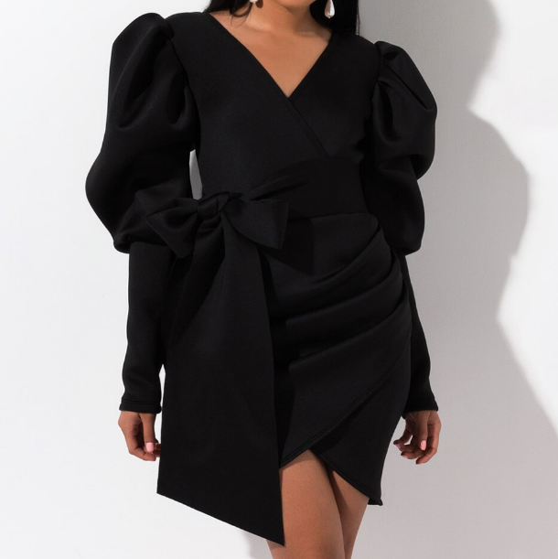 Women V-Neck Wrapped Chest Bow Long Sleeve Dress