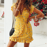 Fashion Women's V-neck Chiffon Short Sleeve Print Dress