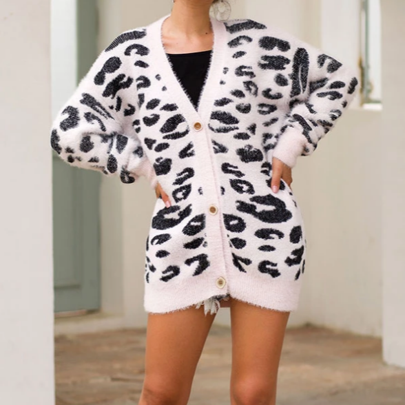 Long sleeve Leopard Print Furry Cardigan jacket