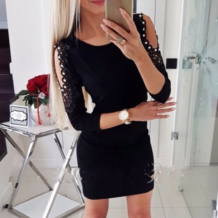 Women'S Off-The-Shoulder Lace Long-Sleeved Dress