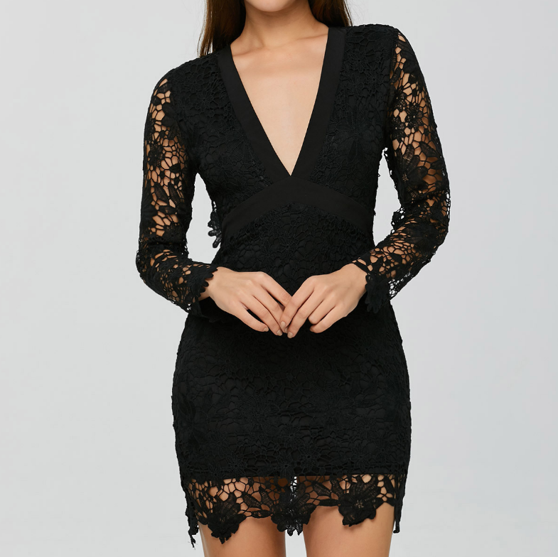 Long Sleeved Women'S Sexy V-Neck Halter Lace Dress