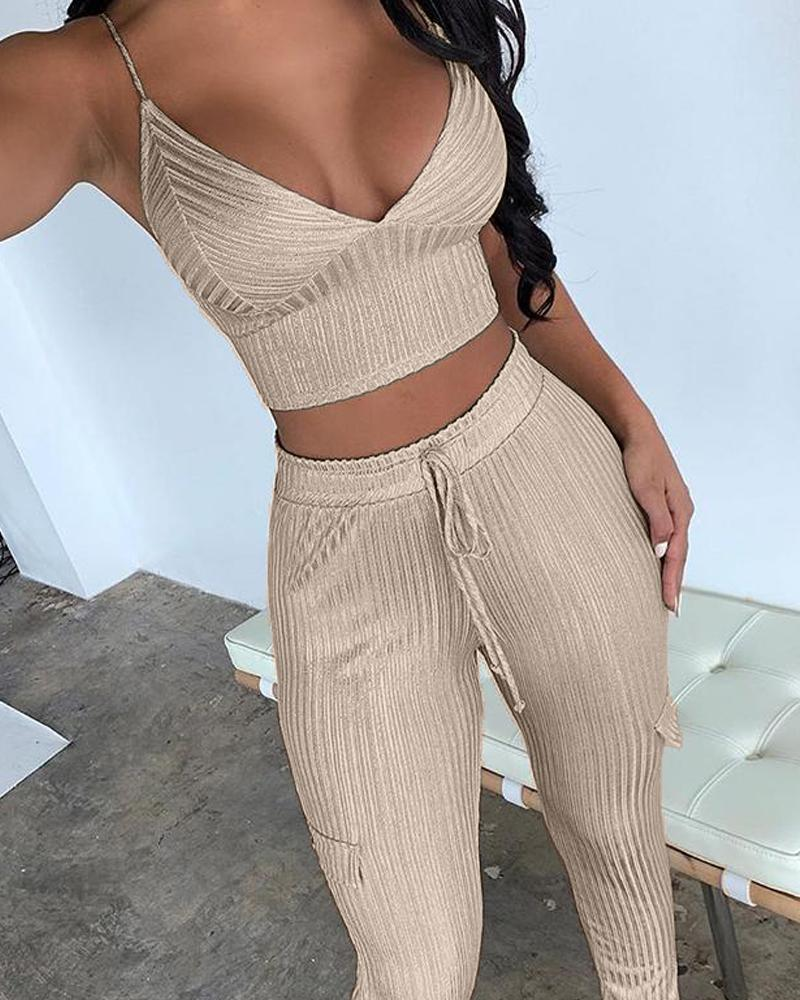 V-Neck Sexy Ribbed Crop Top + Trousers Set
