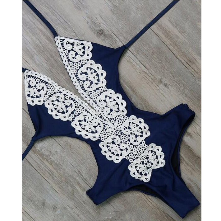 Solid Color Sexy Lace One Piece Swimwear