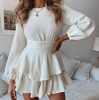 Fashion Round Neck Ruffled Long Sleeve Dress