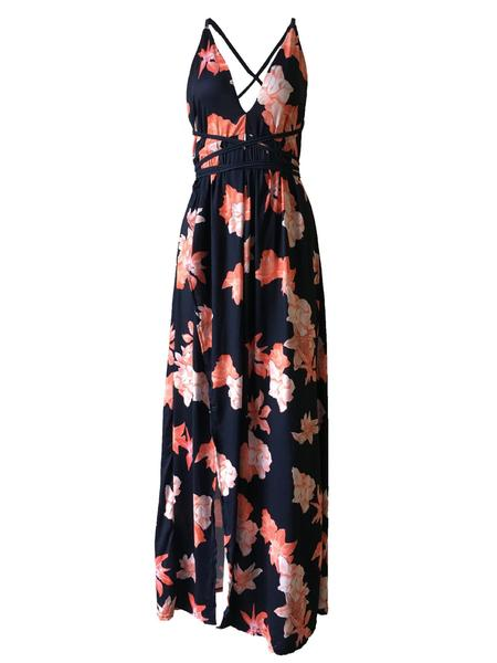 Backless Wrap Slit Maxi Floral Dress