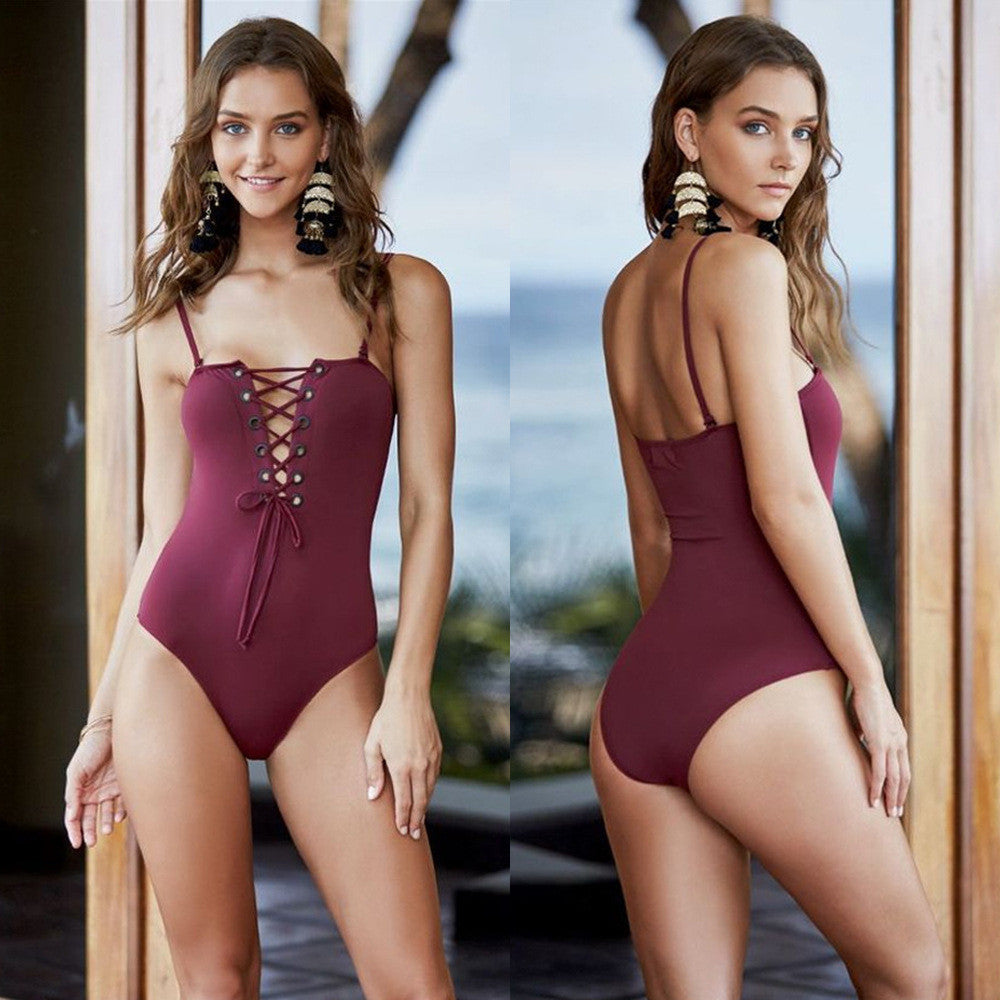 Solid Color Sexy Backless Swimsuit