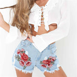 Sexy Embroidered Denim Shorts