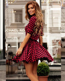 Design Red Plaid Short Sleeve Dress