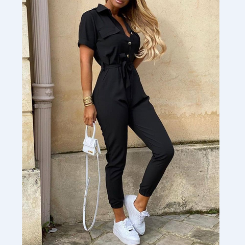 Round Neck Button Long Sleeve Jumpsuit
