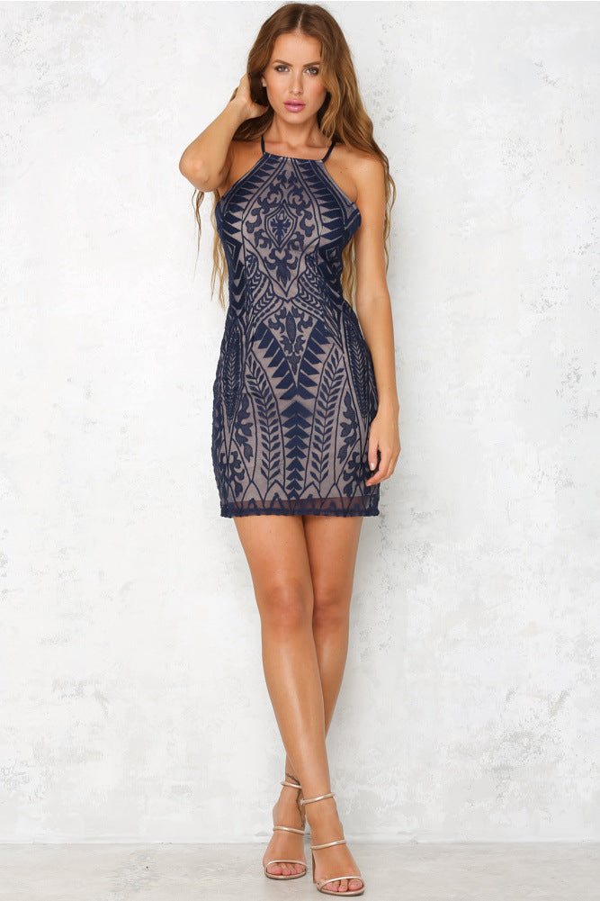 Fashion Sexy Slim Sleeveless Lace Dress