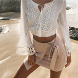 Stylish Sexy Long Sleeve Lace Patchwork V-neck Tops T-shirts
