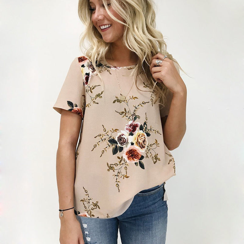 Round Neck Short Sleeve Printed Shirt