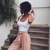 Women'S Solid Color Sleeveless Backless Vest Tops